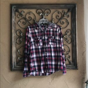 Wet Seal flannel plaid hoodie